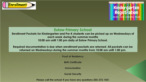 Enrollment Packets-Eutaw Primary School